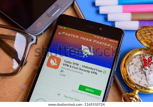 BEKASI, WEST JAVA, INDONESIA. SEPTEMBER 2, 2018 : Turbo VPN- Unlimited Free VPN & Fast Security VPN dev app on Smartphone screen. Turbo VPN is a freeware web browser developed by Innovative Connecting