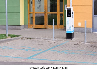 BEKESCSABA, HUNGARY - AUG 24, 2018: Electric car filling station on the street.
