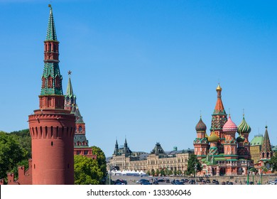Beklemishevskaya Tower, GUM (Main Department Store), St. Basil's Cathedral and the Red Square Of Moscow City