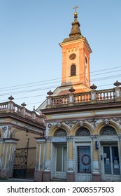 Bela crkva,Serbia- September 06,2020: Romanian Orthodox Church in sunset colors and clear blue sky in small town Bela crkva, Banat.