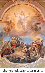 BELAGGIO, ITALY - MAY 10, 2015: The fresco of Ascension of the Lord in church Santa Maria Annunciata (Visgnola) by Luigi Morgari from 20. cent.