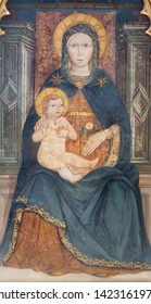 BELAGGIO, ITALY - MAY 10, 2015: The detail of medieval fresco of Madonna in church Chiesa di San Giacomo.