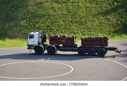 Belarus 06.06.2020: Special chassis MZKT-652760-230 on Test Drive. Truck for technological and repair work in the oil and gas industry. Production  by Minsk Wheel Tractor Plant (Volat trademark).