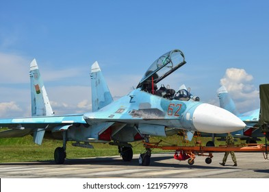Belarus, 61st fighter airbase Baranovichi. August 15, 2018: Sukhoi Su-27 Flanker Front-Line Fighter Aircraft Parking