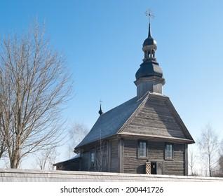 Belarus. Ancient medieval wooden temple