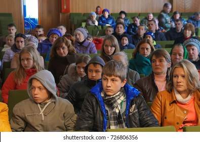 Belarus, Bobruisk District, Bolshie Bortniki Village, October 15, 2015: Villagers in the house of culture watch a film about fire safety. Informing local residents - preventing fires.