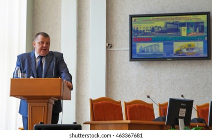 Belarus, Bobruisk district, September 10: Chairperson of District Executive Committee - Alexander Osipov, September 10, 2015 in Bobruisk district, Belarus.