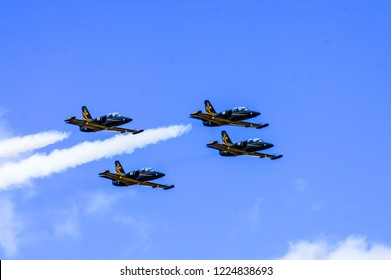 "Belarus. The Borovaya Airfield. 22 June 2014 Aerobatic team ""Russ"". Demonstration flights on the aircraft L-39 ""Albatros"" aircraft"