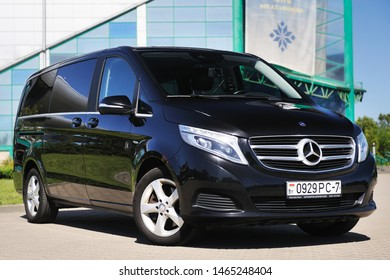 Belarus, Brest - July 30, 2019: Mercedes-Benz V-class, front view. Photographing a modern car in the parking lot in Brest.