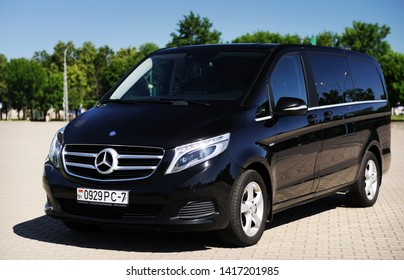 Belarus, Brest - June 03, 2019: Mercedes-Benz V-class, front view. Photographing a modern car in the parking lot in Brest.