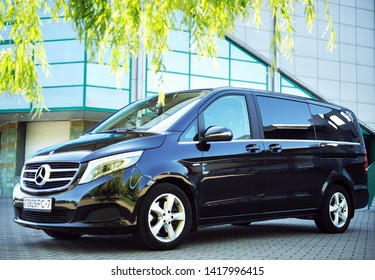 Belarus, Brest - June 03, 2019: Mercedes-Benz V-class, side view. Photographing a modern car in the parking lot in Brest.