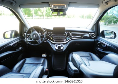 Belarus, Brest - June 03, 2019: Mercedes-Benz V-class, view of the dashboard. Photographing a modern car parked in Brest.
