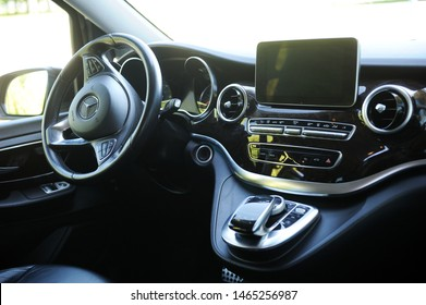 Belarus, Brest - June 03, 2019:Mercedes-Benz v-class, close-up of the dashboard, player. Photographing a modern car in the parking lot in Brest.