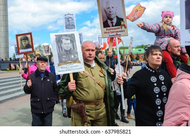 Belarus, Brest, on May 9, 2017 - Immortal Regiment Procession in Brest, during the celebration of a Victory Day