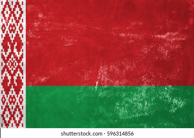 Belarus - Byelorussian Flag on Old Grunge Texture Background
