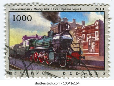 BELARUS - CIRCA 2010: A stamp printed in Belarus shows image of the Steam-engine, circa 2010.