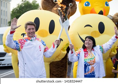 Belarus, the city of Gomel, June 05, 2019. The arrival of fire The Flame of the II European Games.Torchbearers with a torch
