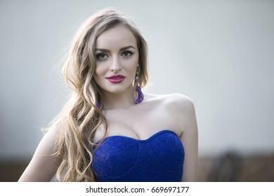 Belarus, the city of Gomel, June 15, 2017. Chabarok restaurant, birthday celebration project new style.Chic girl model in a blue dress.