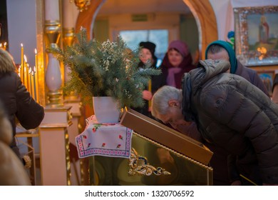 Belarus, the city of Gomel, Prudkovskaya church. January 19, 2019.The celebration of the baptism of Jesus.A man kisses the icon in the Orthodox Church.Russian man in the temple