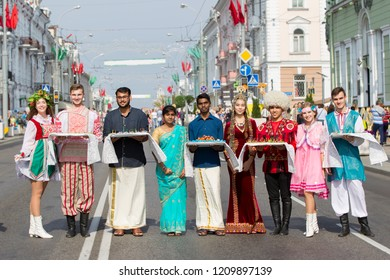 Belarus, the city of Gomel, September 15, 2018. Holiday City Day. Central Park. People of different nationalities in the city of Gomel are standing on the street in national ethnic dress clothes