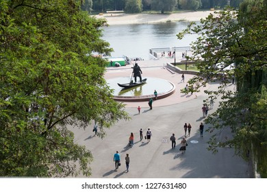 Belarus, the city of Gomel, September 15, 2018. Holiday City Day. Central Park.Gomel from above