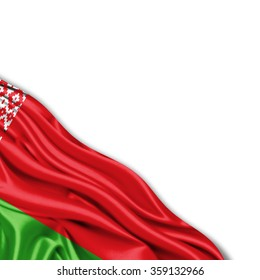 Belarus flag of silk with copyspace for your text or images and White background