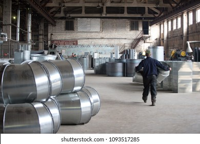 Belarus, Gomel, 25 April 2018. Factory for the manufacture of ventilation pipes.Russian Workshop in the factory for the manufacture of ventilation pipes. Ventilation metal pipes.