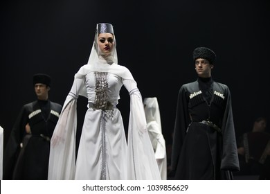 Belarus, Gomel, February 27, 2018. Concert hall. Speech of the national Georgian ballet Sukhishvili.Georgian male and female dancers perform national dance