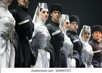 Belarus, Gomel, February 27, 2018. Concert hall. Speech of the national Georgian ballet Sukhishvili.Georgian dancers performing a dance