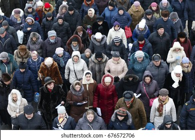 Belarus, Gomel, January 19, 2017, the celebration of the baptism of Jesus Christ,A crowd of Russian people in winter clothes