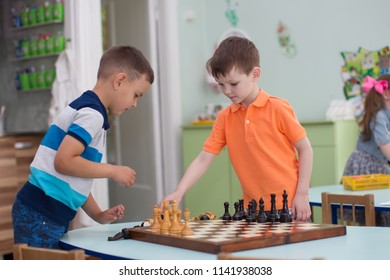 Belarus, Gomel, May 29, 2018. The kindergarten is central. Open Day.Preschool boys play chess