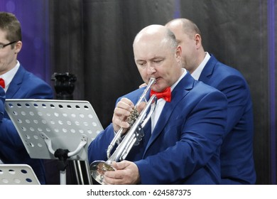 Belarus, Gomel, the performance of the Gomel city orchestra. March 29, 2017.The musician plays the trumpet
