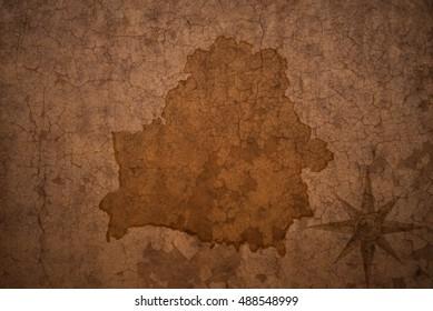 belarus map on vintage crack paper background