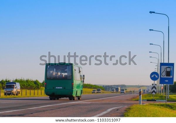 Belarus - May, 29, 2018: traffic on a highway in Belarus