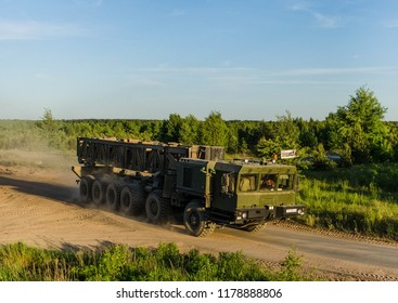 BELARUS, MINSK, 10 AUGUST 2017:The MZKT-79291 12х12 is a Belarusian multi-axle vehicle, designed to carry ballistic missiles (Russian RS-26 Avangard/Rubezh), that is currently being developed