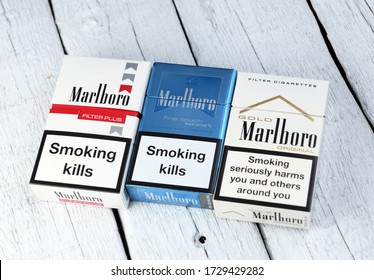 Belarus, Minsk - 12.05.2020:Marlboro cigarettes made by Philip Morris. Marlboro is the best-selling cigarette brand in the world. Illustrative publication photo