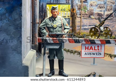 BELARUS, MINSK - APRIL 09/2015: Belarusian State Museum of the Great Patriotic War, invited the visitors after restoration of many exhibits.