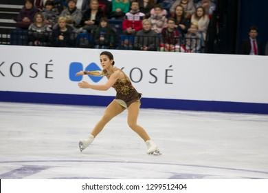 Belarus, Minsk, Ice Arena, January 25, 2019. European Figure Skating Championship. Hungarian ice skater ice skater Yvette Totn performs free program