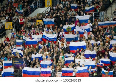 Belarus, Minsk, Ice Arena, January 25, 2019. European Figure Skating Championship.Jubilant Russian fans in the stands at figure skating competitions