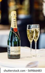 BELARUS, MINSK- JANUARY 24, 2017:Bottle of Moet & Chandon champagne in the restaurant.