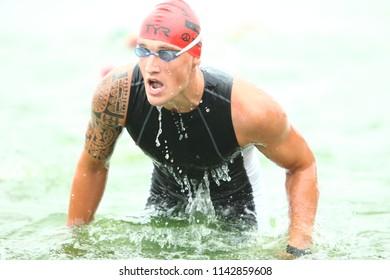 Belarus, Minsk, July 22, 2018: athletes participants swimming competitions Minsk Triathlon