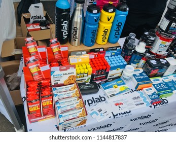 Belarus, Minsk, July 22, 2018: sports nutrition products on the counter of the store during the Triathlon Minsk competition