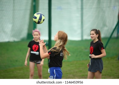 Belarus, Minsk, July 22, 2018:girls from the support group play volleyball during the Minsk Triathlon competition