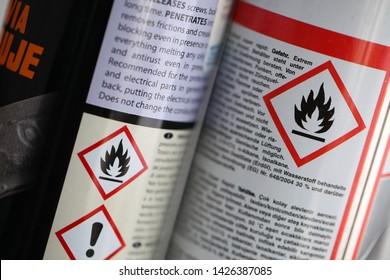 Belarus, Minsk, June 2019. Sign danger flames