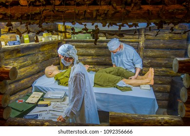 BELARUS, MINSK - MAY 01, 2018: Indoor view of State Museum of the Great Patriotic War exhibits of the museum, recreating the atention of injured during the war in Minsk