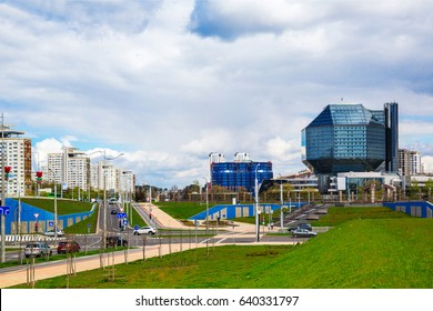 Belarus, Minsk, May 11, 2017: National Library of Belarus panoramic view of the building - the main universal scientific library, a symbol of Belarusian culture and science, editorial