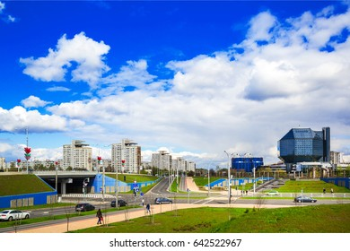 Belarus, Minsk - May 11, 2017: National Library of Belarus panoramic view of the building - the main universal scientific library, a symbol of Belarusian culture and science, editorial