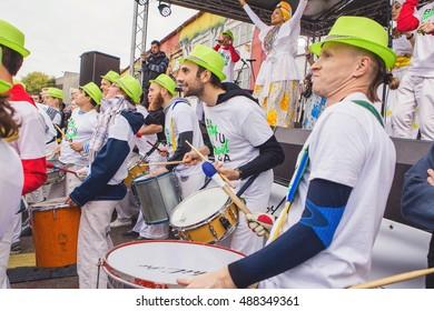 Belarus, Minsk - September 17: Brazilian carnival in the streets of Minsk. Closing street art festival Vulica Brasil, which was held from August 25 to September 17, 2016 in Minsk.