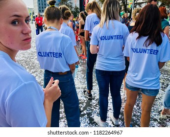Belarus, Minsk, September 2018: volunteers students at the start of the marathon