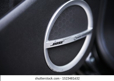 Belarus, Minsk-October 6, 2019:Musical speakers of Bose premium audio system in a car door. Close-up